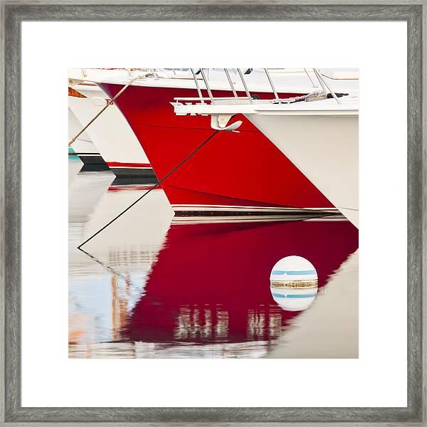 Red Boat Reflection Framed Print