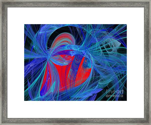 Red Heart Blue Lace Framed Print