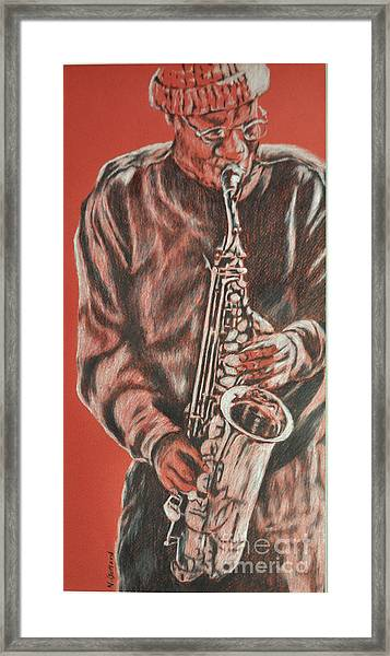 Red Hot Sax Framed Print