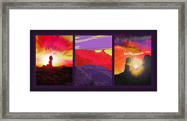 Red Rock Country Triptych Framed Print