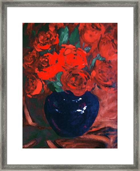 Framed Print featuring the painting Red Roses Blue Vase by G Linsenmayer