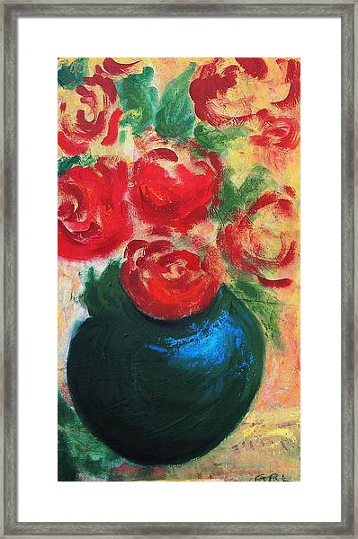 Framed Print featuring the painting Red Roses In Blue Vase by G Linsenmayer