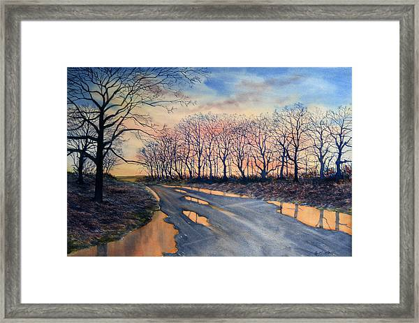 Red Sky On The Road From Sledmere Framed Print