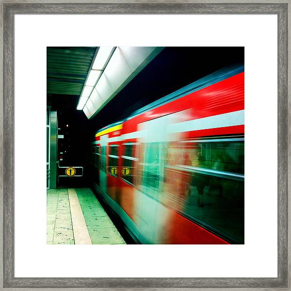 Red Train Blurred Framed Print