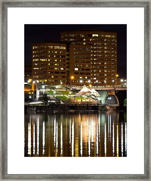 River Front At Night Framed Print