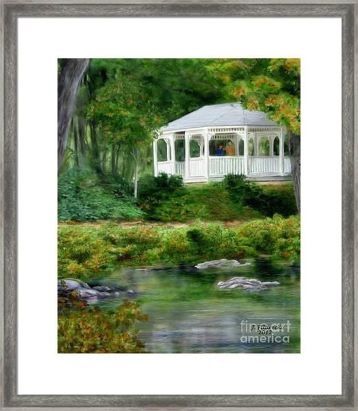 Riverside Gazebo Framed Print by Judy Filarecki