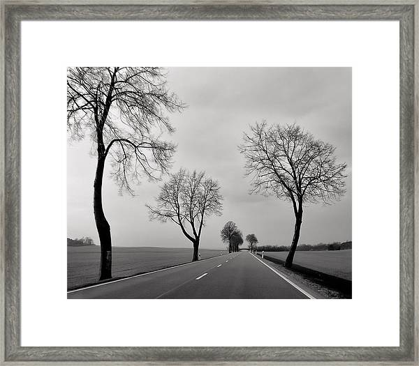 Road Through Windy Fields Framed Print