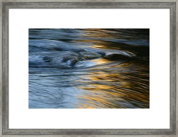 Rock And Blue Gold Water Framed Print
