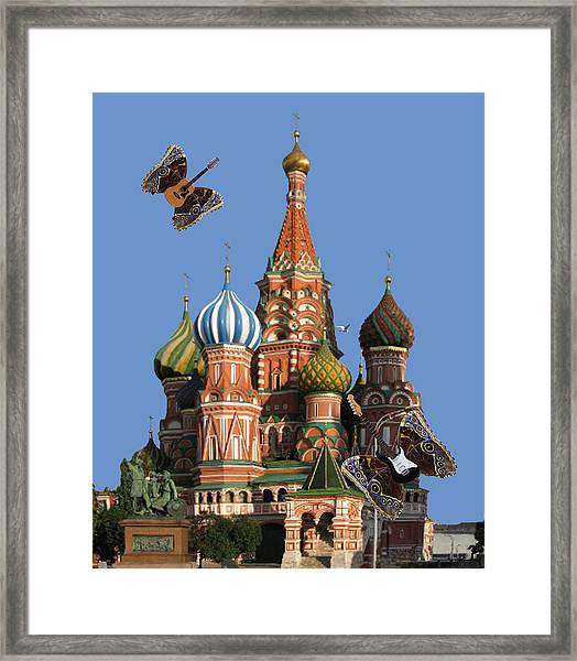 Framed Print featuring the digital art Rock On Moscow by Eric Kempson