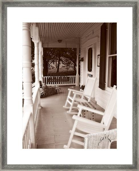 Framed Print featuring the photograph Rockers At Angler's Inn by Williams-Cairns Photography LLC