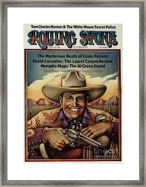 Rolling Stone Cover - Volume #146 - 10/25/1973 - Gene Autry Framed Print by Gary Overacre