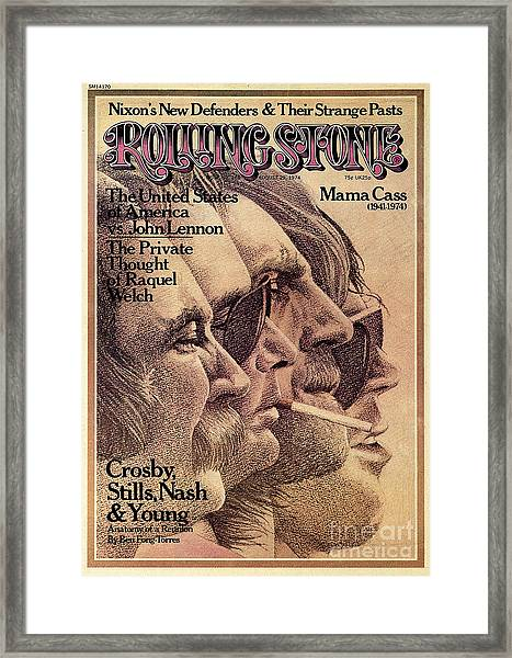 Rolling Stone Cover - Volume #168 - 8/29/1974 - Crosby, Still, Nash And Young Framed Print by Dugard Stermer