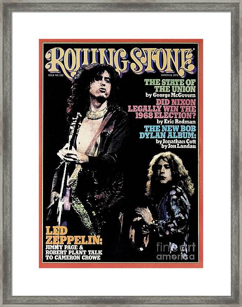 Rolling Stone Cover - Volume #182 - 3/13/1975 - Jimmy Page And Robert Plant Framed Print