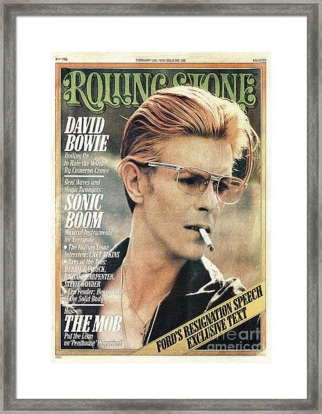Rolling Stone Cover - Volume #206 - 2/12/1976 - David Bowie Framed Print by Steve Schapiro
