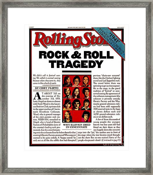 Rolling Stone Cover - Volume #309 - 1/24/1980 - The Who Concert Tragedy Framed Print