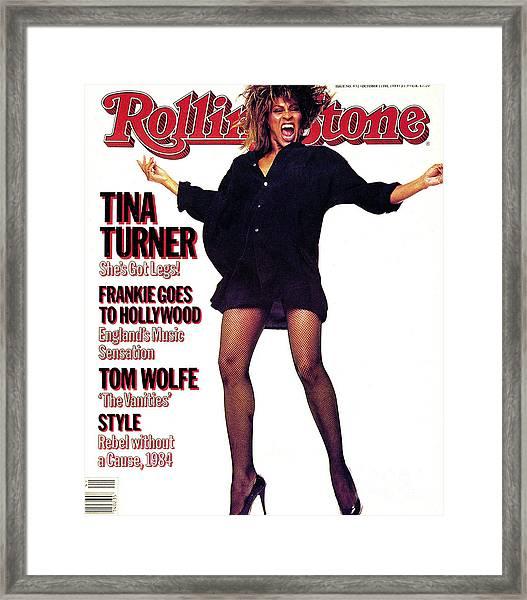 Rolling Stone Cover - Volume #432 - 10/11/1984 - Tina Turner Framed Print by Steve Meisel