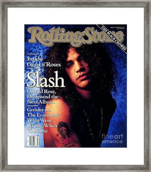 Rolling Stone Cover - Volume #596 - 1/24/1991 - Slash Framed Print