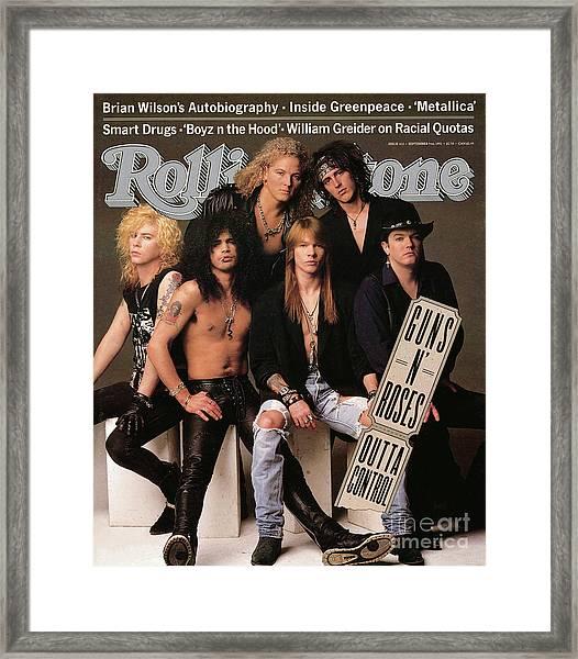 Rolling Stone Cover - Volume #612 - 9/5/1991 - Guns 'n Roses Framed Print
