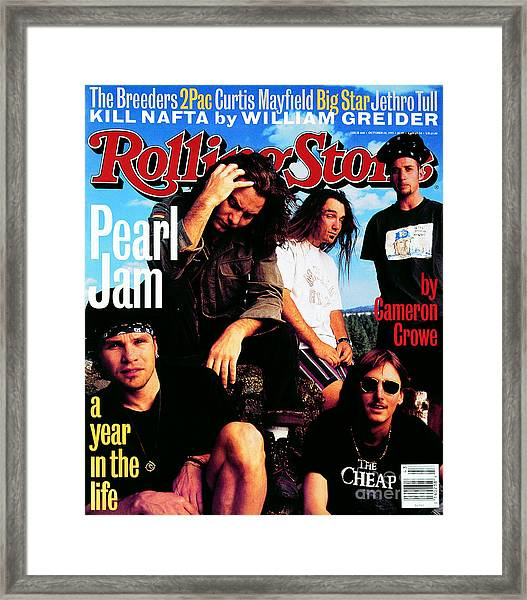 Rolling Stone Cover - Volume #668 - 10/28/1993 - Pearl Jam Framed Print by Mark Seliger