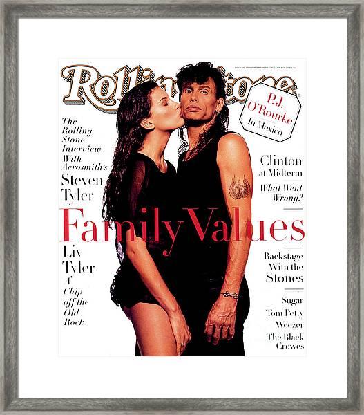 Rolling Stone Cover - Volume #694 - 11/3/1994 - Liv And Steven Tyler Framed Print