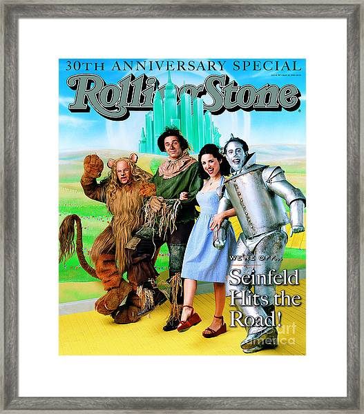 Rolling Stone Cover - Volume #787 - 5/28/1998 - Cast Of Seinfeld Framed Print by Mark Seliger