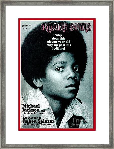 Rolling Stone Cover - Volume #81 - 4/29/1971 - Michael Jackson Framed Print by Henry Diltz