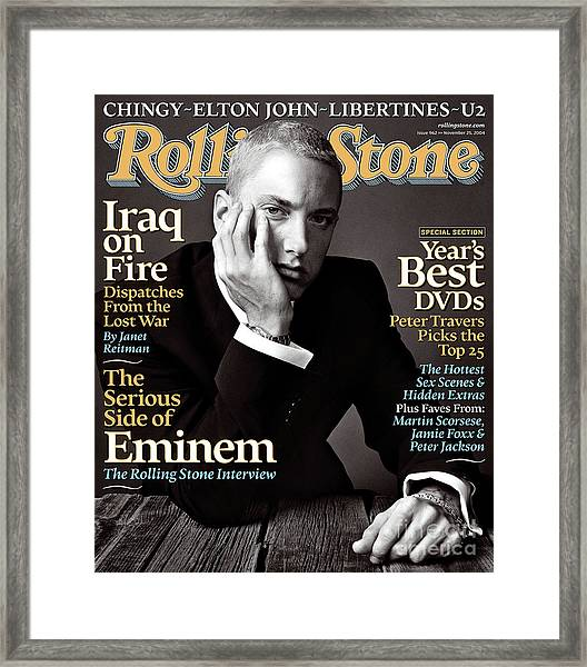 Rolling Stone Cover - Volume #962 - 11/25/2004 - Eminem Framed Print by Norman Jean Roy