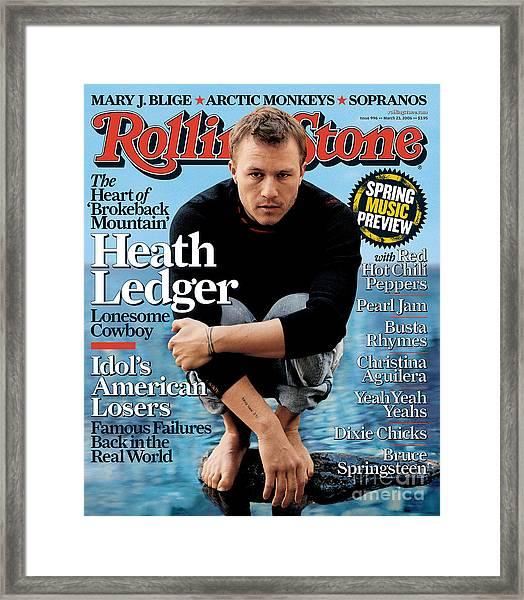 Rolling Stone Cover - Volume #996 - 3/23/2006 - Heath Ledger Framed Print