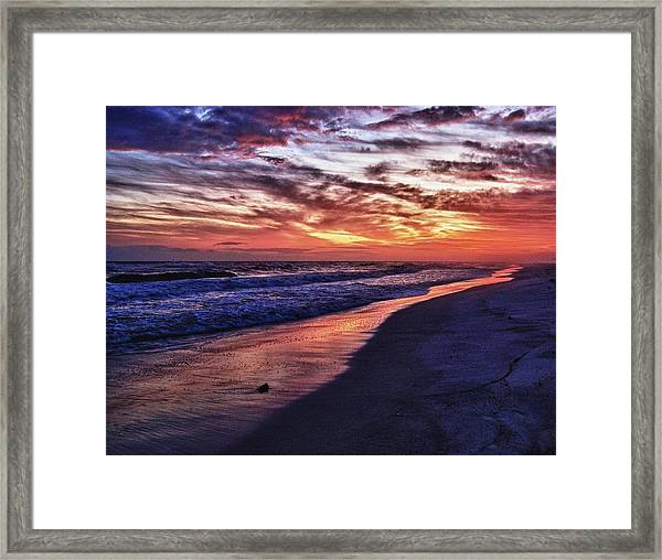 Romar Beach Sunset Framed Print