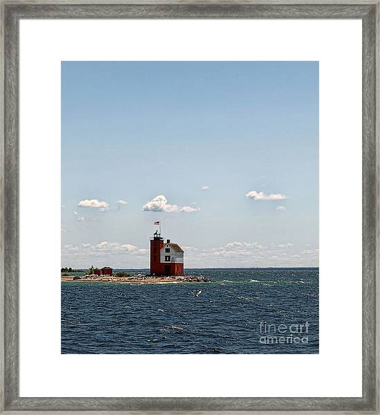 Round Island Light Framed Print