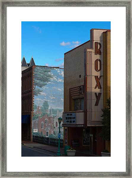 Roxy Theater And Mural Framed Print