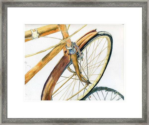 Rusty Beach Bike Framed Print