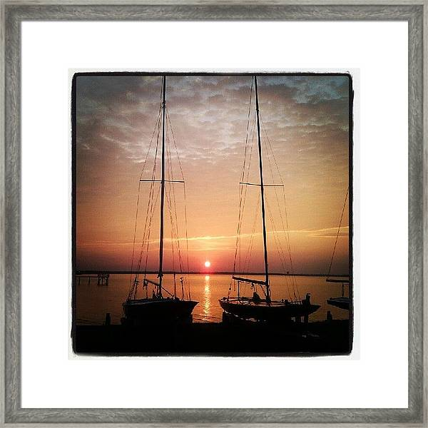 Sailboats In The Sunset Framed Print