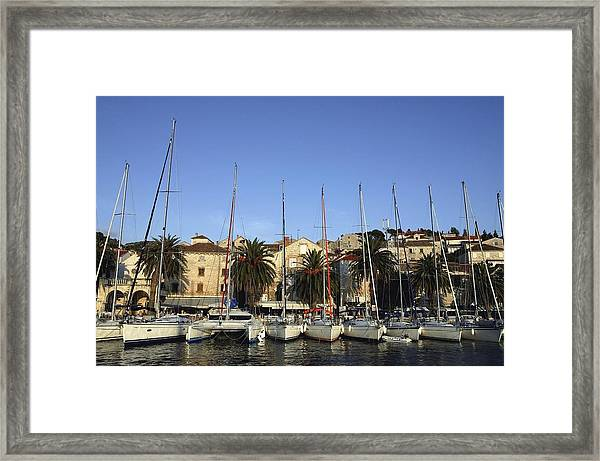 Sailboats Lined Up In Hvar Harbour Framed Print