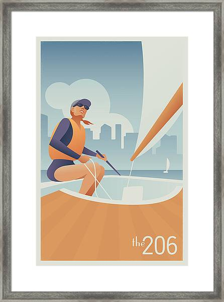 Sailing Lake Union In Seattle Framed Print