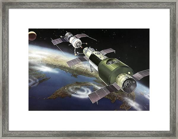 Salyut 1 Space Station, Artwork Framed Print by Ria Novosti