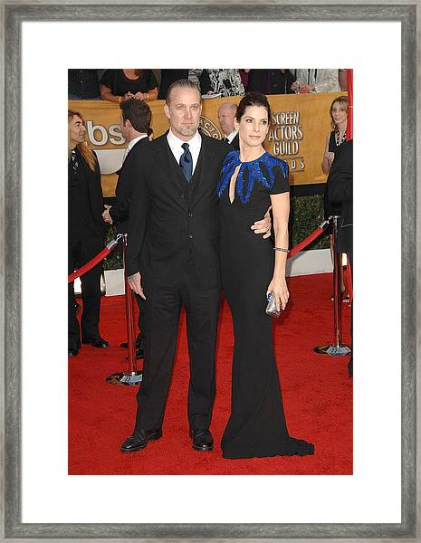 Sandra Bullock, Jesse James At Arrivals Framed Print
