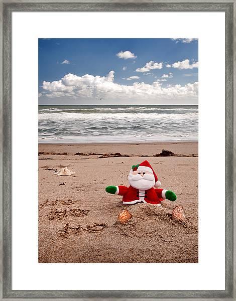 Santa At The Beach Framed Print