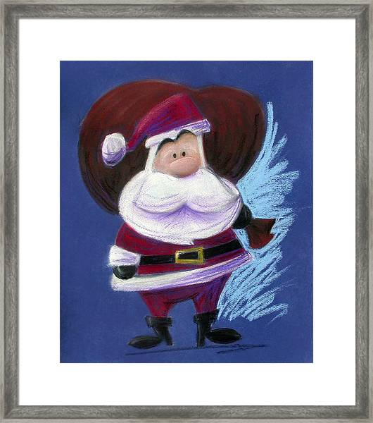 Santa With His Pack Framed Print