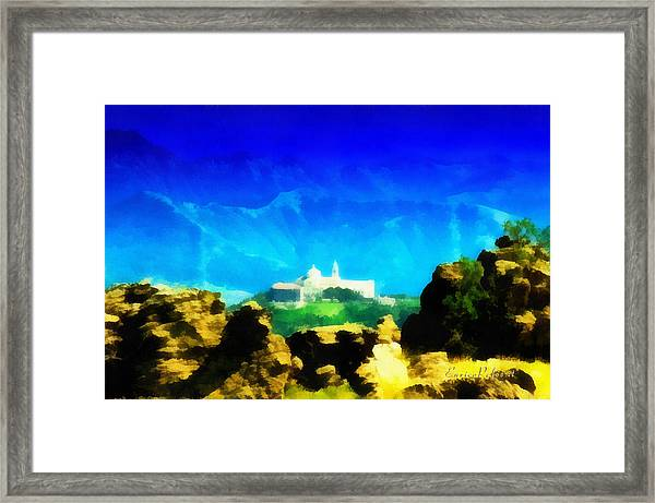 Santuario Della Madonna Della Guardia Di Genova Dall'altavia Dei Monti Liguri Framed Print