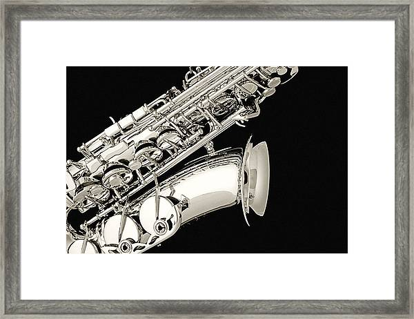 Saxophone Black And White Framed Print