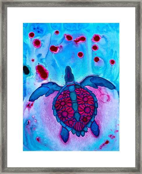 Sea Turtle Take Off Framed Print