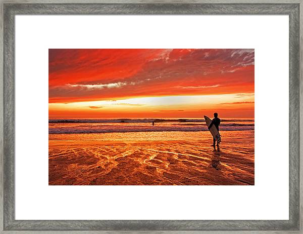 Sensational Sunset Surf Framed Print by Donna Pagakis