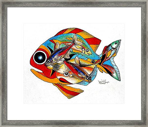Seven Fish Framed Print
