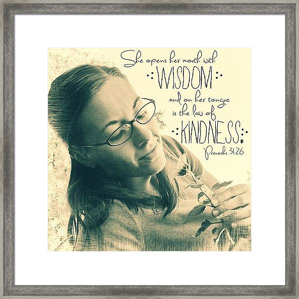 she Opens Her Mouth With Wisdom, And Framed Print