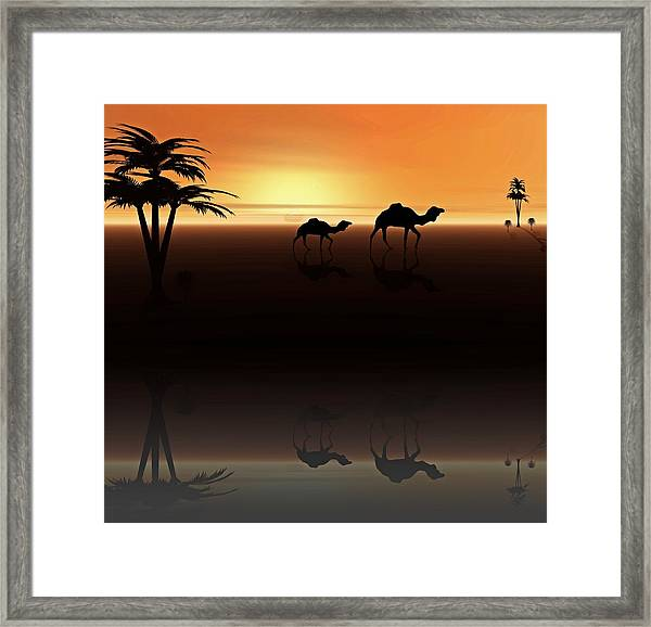 Framed Print featuring the digital art Ships Of The Desert by David Dehner