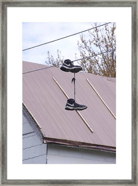 Framed Print featuring the photograph Shoefiti 2067dp by Brian Gryphon