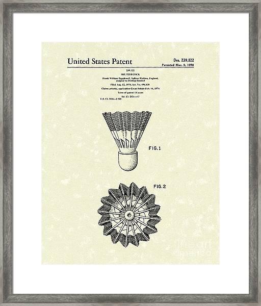 Shuttlecock 1976 Patent Art Framed Print