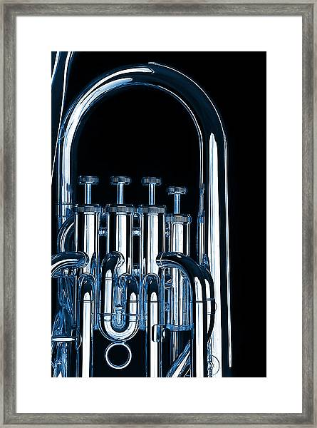 Silver Bass Tuba Euphonium On Black Framed Print
