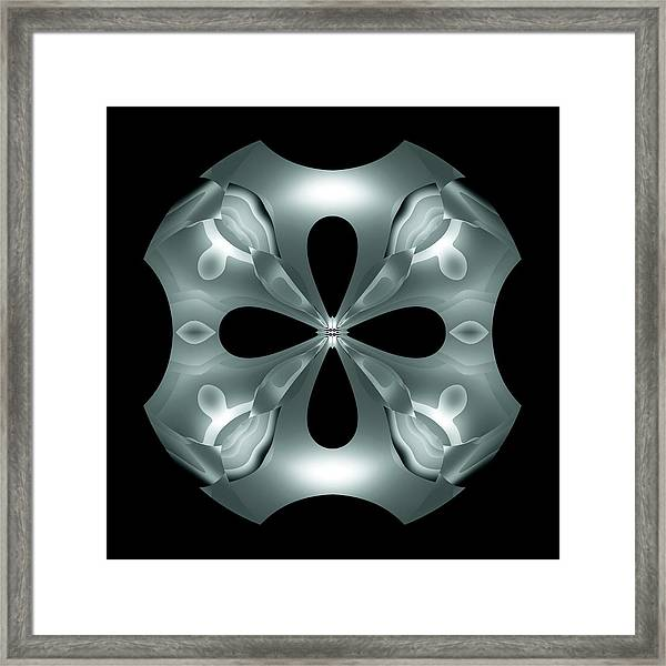 Framed Print featuring the digital art Silver Flower by Visual Artist Frank Bonilla